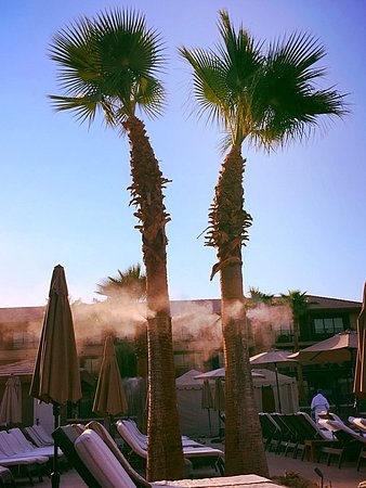 Rancho Mirage, CA: Misters help keep the temps down poolside.