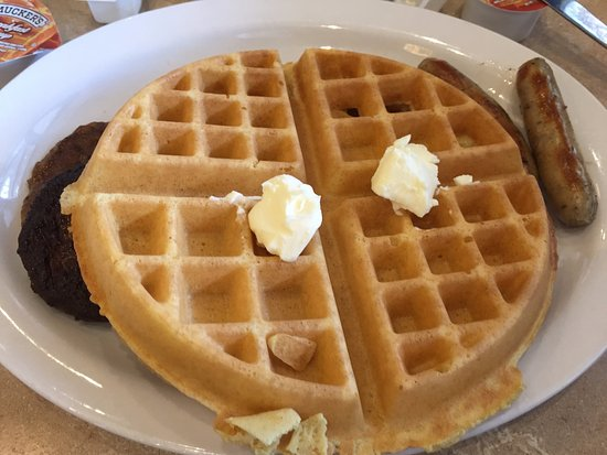 The Villages, FL: waffle with a hidden burnt sausage patty