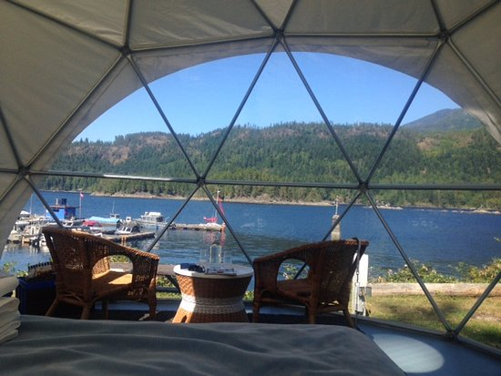 Backeddy Resort & Marina: View from the bed in the geodesic domes