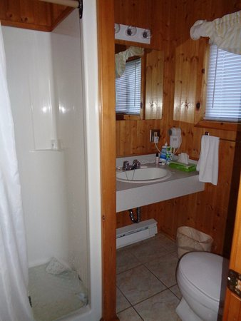 Cavendish Beach Cottages: Stand-up shower only but efficient for the space