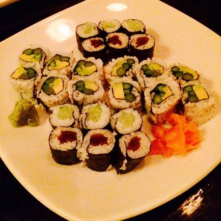 Terre Haute, IN: Cucumber roll, avocado asparagus roll, and pickled beet roll