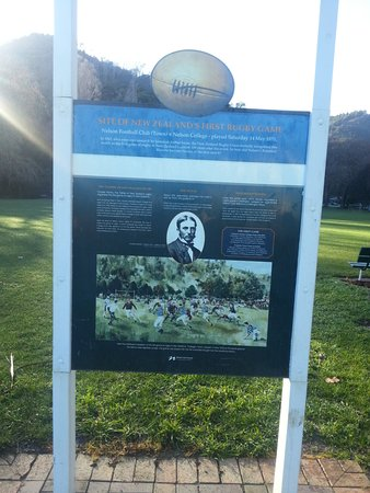 Nelson, Nya Zeeland: Storyboard detailing the details of the first rugby game in NZ