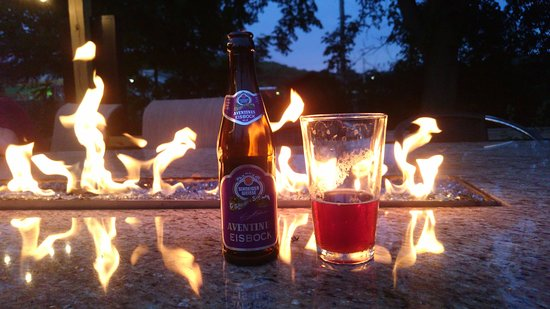 New Glarus, WI: enjoy a large craft beer list at fire heated tables on the patio