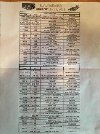 Mill Run, PA: Activities Schedule