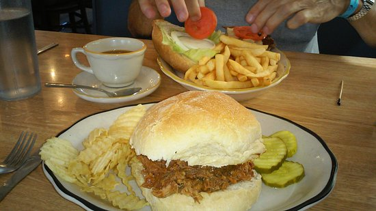 Macungie, Pensilvania: Burger/fries and pulled pork sandwich