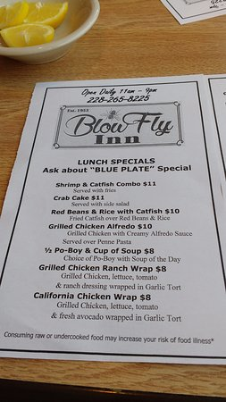 The Blow Fly Inn: Lunch menu