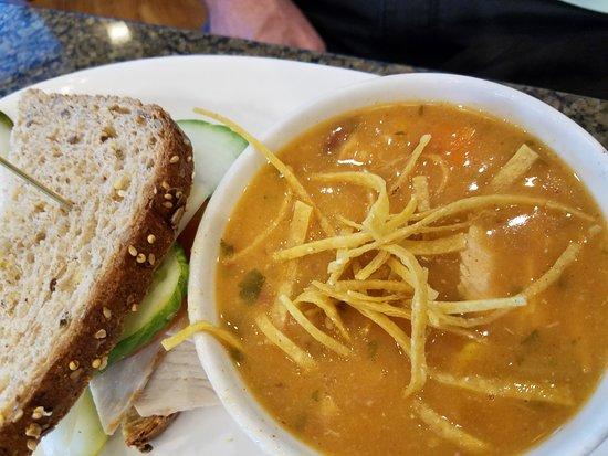 Glenview, IL: Turkey avocado apple sandwich with Chicken tortilla soup