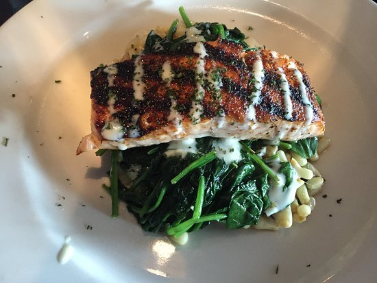 High Point, NC: Salmon over sautes spinach and blistered corn - very good