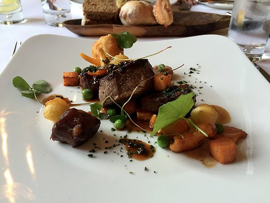 Pateley Bridge, UK: Fillet of local beef, Lacquered Shin of Rose Veal, Apples, and Garden Herbs