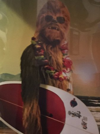 Wayne, Pensylwania: Poster in the restaurant - Chewie hanging 10!