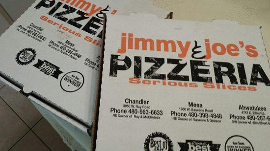 Chandler, AZ: Jimmy & Joe's gluten-free pizza and a calzone