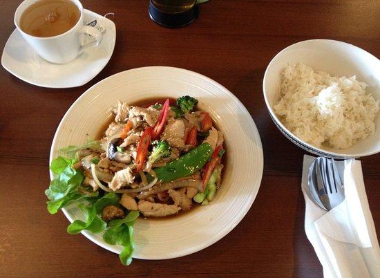 Childers, Australia: Ginger chicken stirfry, steamed rice & green tea.