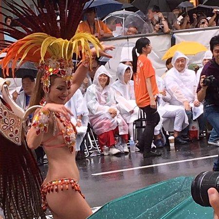 Taito, Japan: 見る人もカッパ姿です。