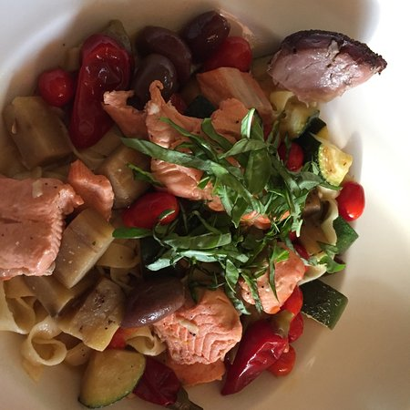 Gabriella Cafe: salmon with house-made pasta, vegetables and basil