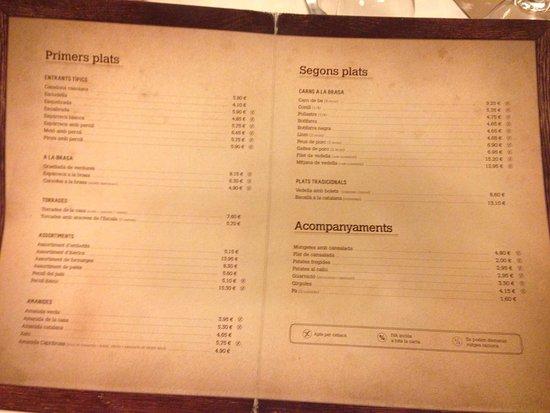 Palau-Solita  i Plegamans, Spania: La Carta, a destacar que entre semana siempre hay platos adicionales del día.