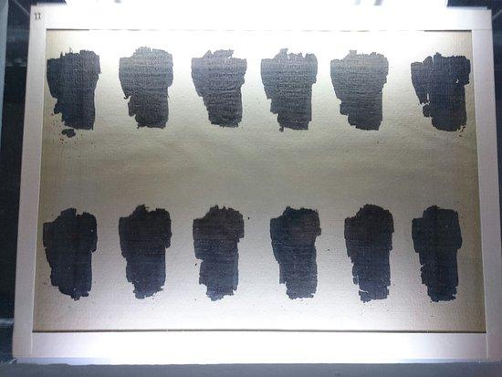 Archaeological Museum of Thessaloniki : Pieces of the oldest surviving European papyrus (the Derveni papyrus)