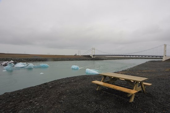 A table for a picnic near icebergs
