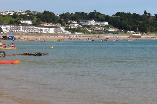 View showing the Biarritz Hotel from St Brelade's beach