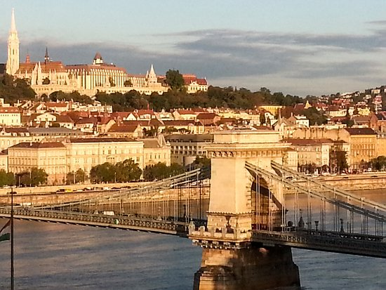 Sofitel Budapest Chain Bridge: View of Budapest & Danube from top floor