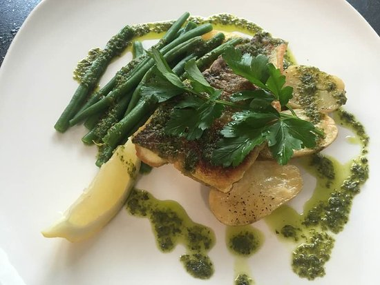 Bromley, UK: sea bass fillet with saute potatoes and fresh beans