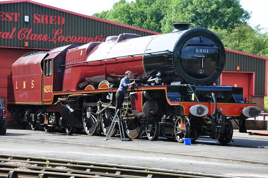 Ripley, UK: Ex LMSR 4-6-2 No 6201 Princess Elizabeth outside the West Shed