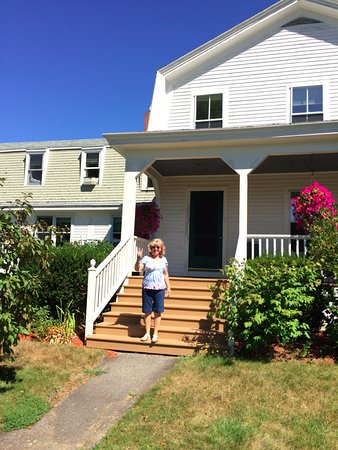 Hallowell, ME: welcoming front porch overlooking well maintained and beautiful lawns
