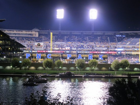 PNC Park viewed from Point State Park on a game night