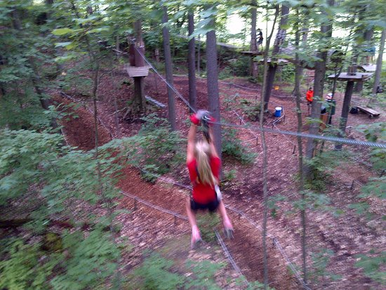 Ellicottville, NY: Zip line to tree stand
