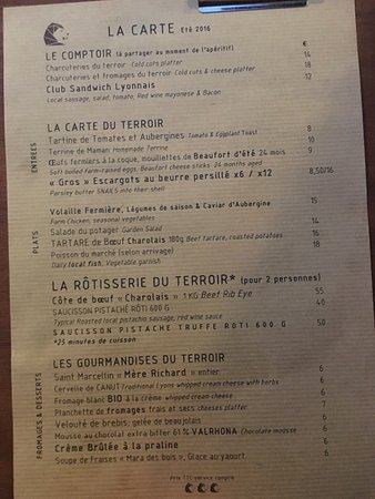 Cafe Terroir: Menu