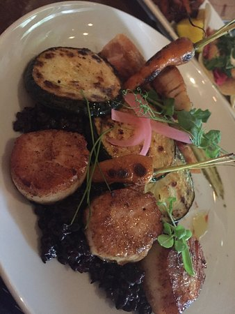 Blasdell, NY: Pork belly & scallops w/ black rice. Delish!