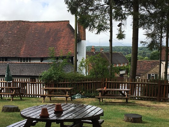 Farnham, UK: Road beef - served with generous portions of everything .... the garden .... and the views over