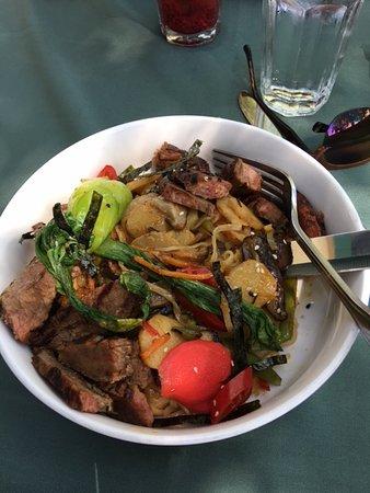 Sweet chili flank steak stir-fry