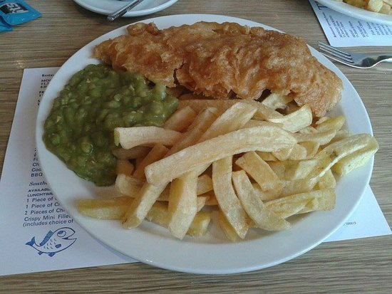 Jolly Fryer: Cod, *half a portion* of chips and mushy peas, Wonderful.