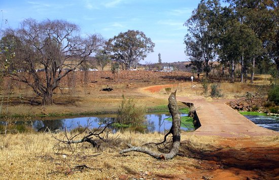 Greater Johannesburg, Sudáfrica: Ndebele Dorf im Bildhintergrund
