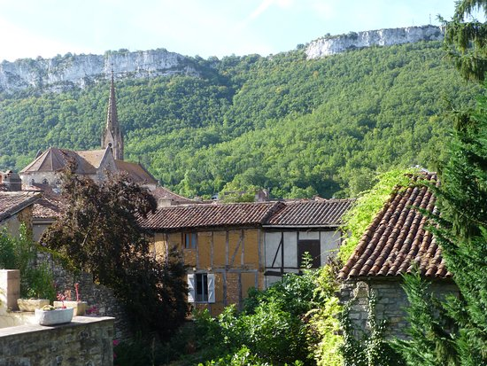 Saint-Antonin Noble Val, France : The view from our second floor bedroom window at La Residence
