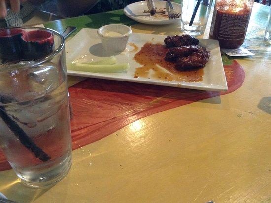 Flying Rhino Cafe: honey glazed wings - good but pricey