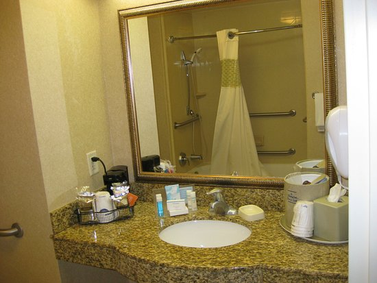 Pocatello, ID: Sink area with coffeemaker and toiletries