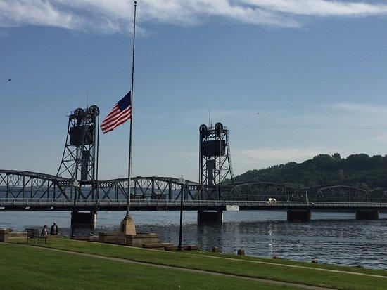 Historic Stillwater Lift Bridge by public park.