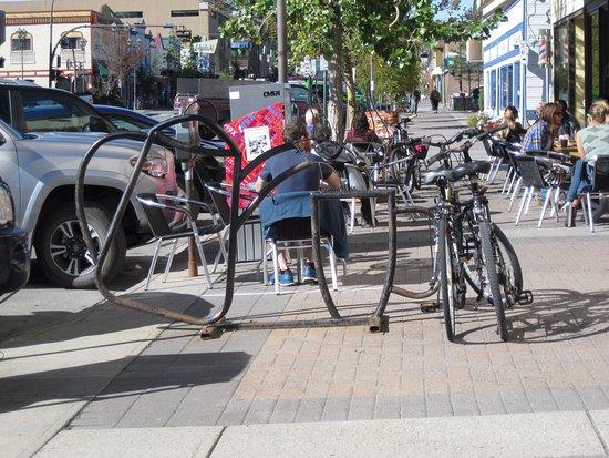 Appropriate bike rack outside Baked cafe