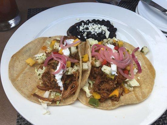 Del Mar, CA: Carnitas tacos with mango salsa! Yum!