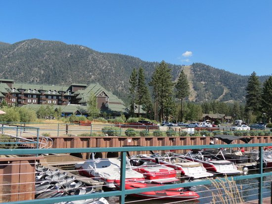 Lake Tahoe Vacation Resort: View of the resort with boats and beach nearby which is open to the public