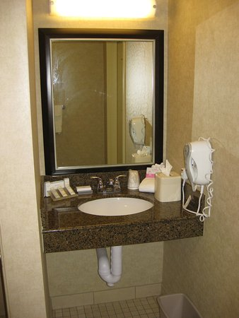 Hilton Garden Inn Fargo: Cramped sink area with toiletries and hairdryer