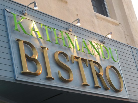 Kathmandu Bistro: The lighted sign outside