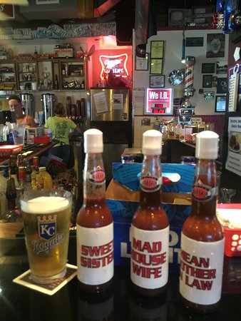 Independence, MO: Bacon chips and a selection of their hot sauces