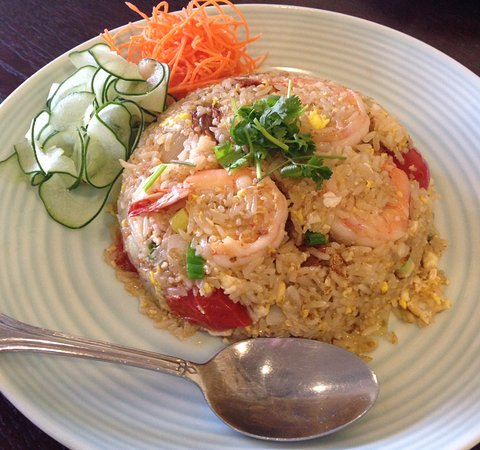 Los Alamitos, CA: shrimp fried rice without the pineapple or raisins or curry. but yum!