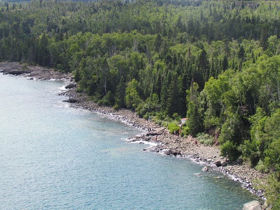 Two Harbors, MN: looking down from the top of the lighthouse