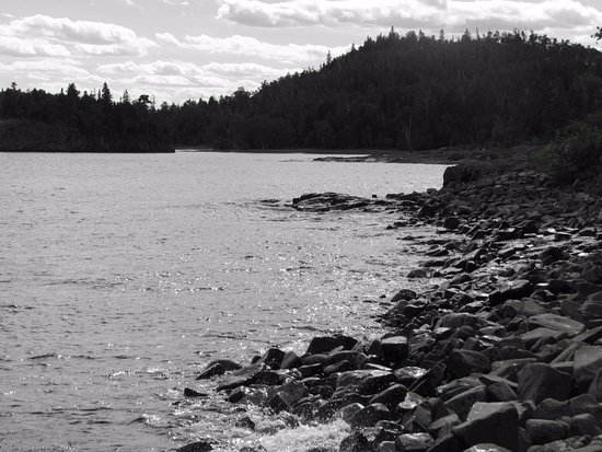 Two Harbors, MN: black and white view