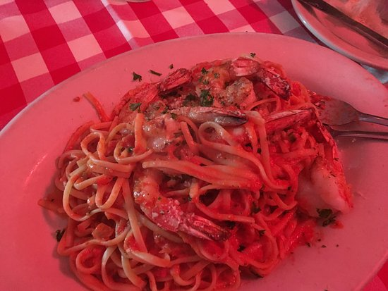 Daddy Jack's: Linguini with shrimp and stuffed  tilapia .