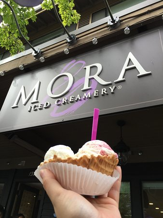 Mora Ice Cream Co: Creamy, decadent ice cream in too many flavored to choose from. The flavors are rich and fresh a