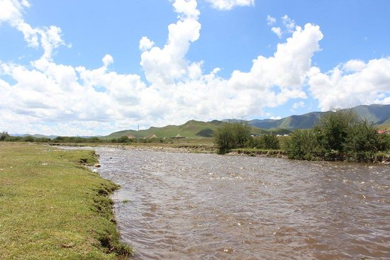 Xiahe County, China: View of DaXia River just outside the XiaHe Town near Sangke Grasslands